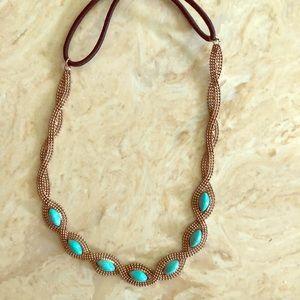 Turquoise/gold headband